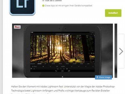 Lightroom für Android V 1.2 im Playstore